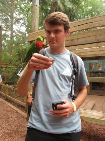 Jacob, a college counselor, feeding the Parakeets