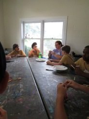 """Working on their """"Eye of the Tiger"""" project with Ms. Chris, the art teacher"""